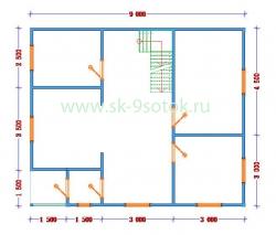 Дом 7.5х9 метра «Витязь»